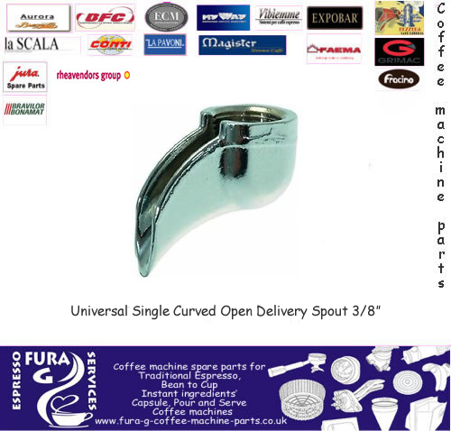 "Standard 3/8"" Curved Single Portafilter Spout"
