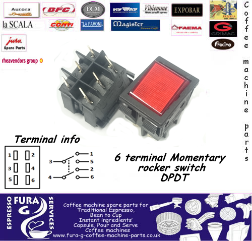 6 Terminal Momentary Rocker Switch  DPDT