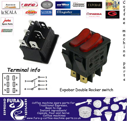 Expobar Double Rocker Switch Grinder And Hot Water Fura G Coffee Machine Parts