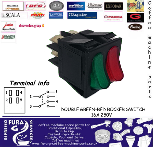 DOUBLE GREEN-RED ROCKER SWITCH 16A 250V