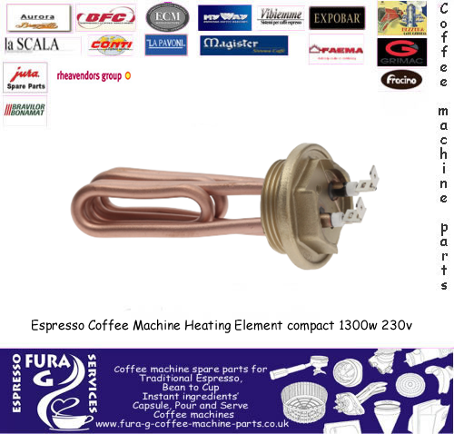 Espresso Coffee Machine Heating Element compact 1300w 230v immersed length 105 mm - 2 poles