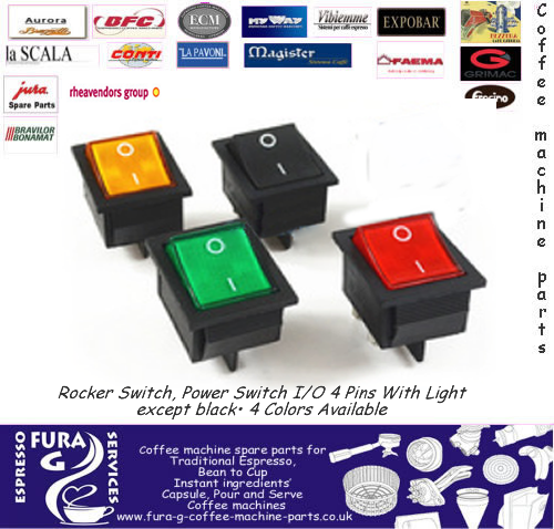 Mains on-off 16Amp rocker switch  4 terminals 4 colours available