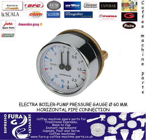 ELECTRA Double Scale Horizontal 60mm Boiler-Pump Pressure Gauge