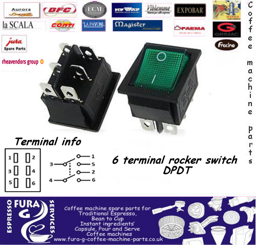 Bezzera Green Rocker Switch 6 Terminals