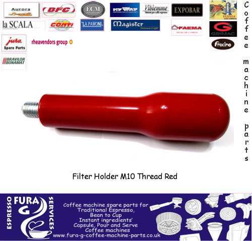 Filter Holder Handle M10 Metric Thread. Red Handle