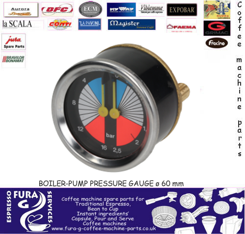Double Scale Horizontal 60mm Boiler-Pump Pressure Gauge