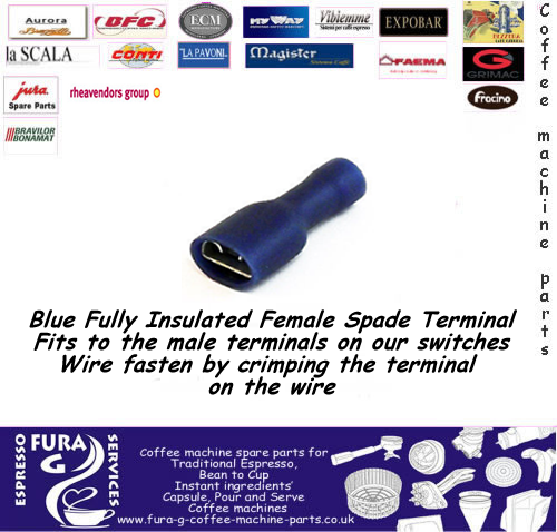 Blue Female Spade Crimp Terminals. (Fully Insulated).