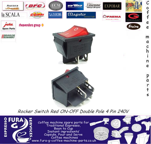Rocker Switch 16A Red ON-OFF Double Pole 4 Pin 240V