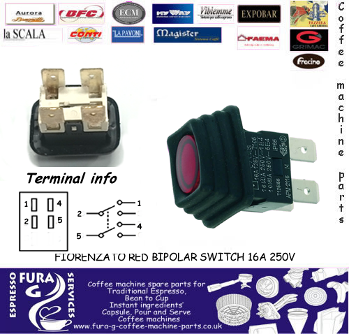 Red Bipolar Switch 16a 250v Fiorenzato Ducal Colombina