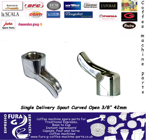 "Single Delivery Spout Curved Open 3/8"" 42mm"