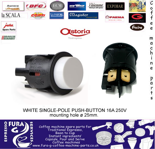 WHITE SINGLE-POLE PUSH-BUTTON 16A 250V