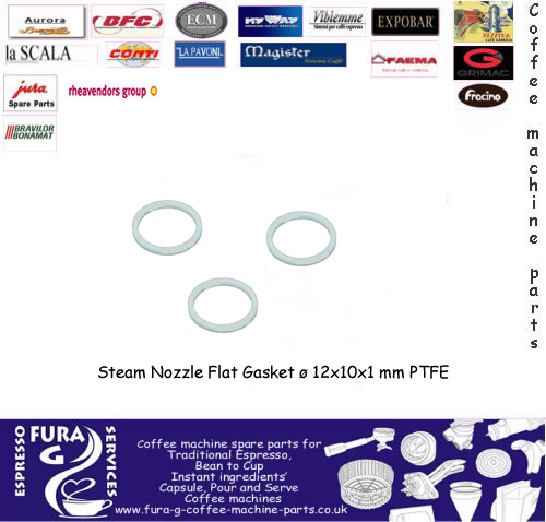 Steam Nozzle Flat Gasket ø 12x10x1 mm PTFE