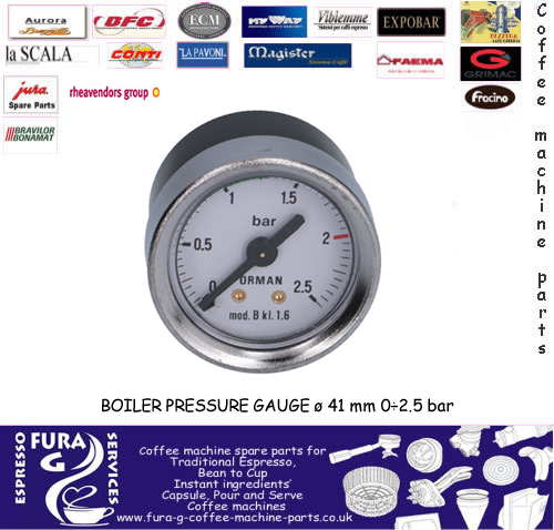 BOILER PRESSURE GAUGE ø 41 mm 0 - 2.5 bar