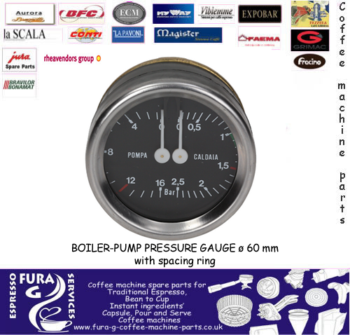 BOILER-PUMP PRESSURE GAUGE ø 60 mm with spacing ring