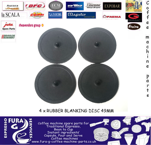 4 x Rubber blanking disc 49mm