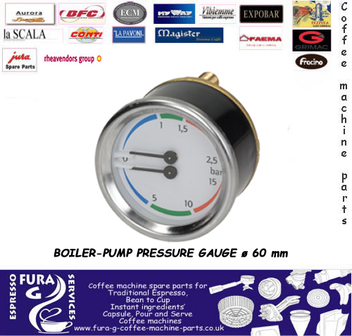 PRESSURE GAUGE DUAL - 60MM WHITE FACE
